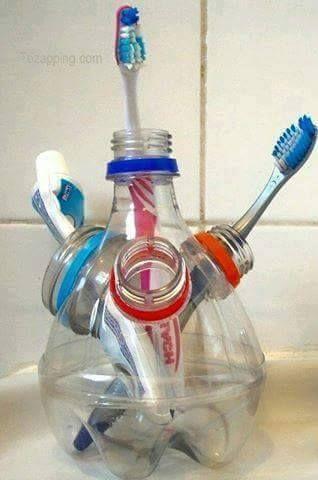 plastic bottle brush holder DIY Craft